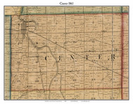 Center, Indiana 1861 Old Town Map Custom Print - Grant Co.