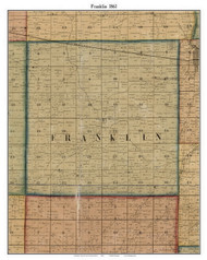 Franklin, Indiana 1861 Old Town Map Custom Print - Grant Co.