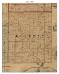 Jefferson, Indiana 1861 Old Town Map Custom Print - Grant Co.