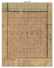 Liberty, Indiana 1861 Old Town Map Custom Print - Grant Co.