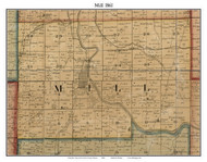 Mill, Indiana 1861 Old Town Map Custom Print - Grant Co.