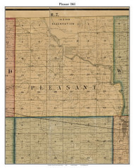 Pleasant, Indiana 1861 Old Town Map Custom Print - Grant Co.
