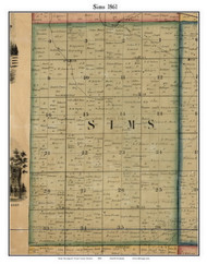 Sims, Indiana 1861 Old Town Map Custom Print - Grant Co.