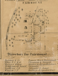 Fairmount Village, Fairmount, Indiana 1861 Old Town Map Custom Print - Grant Co.