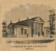 Wallace Residence, Marion, Indiana 1861 Old Town Map Custom Print - Grant Co.