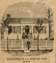 Stretch Residence, Marion, Indiana 1861 Old Town Map Custom Print - Grant Co.