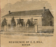 Hill Residence, Marion, Indiana 1861 Old Town Map Custom Print - Grant Co.