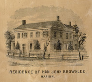 Brownlee Residence, Marion, Indiana 1861 Old Town Map Custom Print - Grant Co.