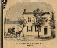 Ayres Residence, Marion, Indiana 1861 Old Town Map Custom Print - Grant Co.