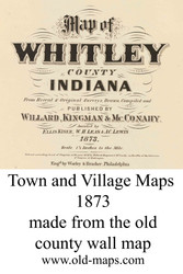 Map Cartouche, Whitley Co. Indiana 1873 Old Town Map Custom Print - Whitley Co.