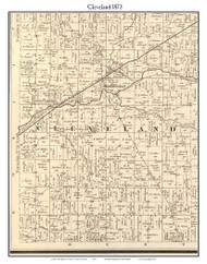 Cleveland, Indiana 1873 Old Town Map Custom Print - Whitley Co.