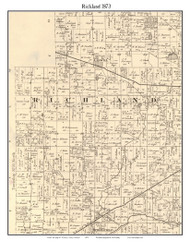 Richland, Indiana 1873 Old Town Map Custom Print - Whitley Co.