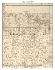 Thorn Creek, Indiana 1873 Old Town Map Custom Print - Whitley Co.