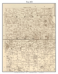 Troy, Indiana 1873 Old Town Map Custom Print - Whitley Co.