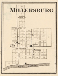 Millersburg Village, Cleveland, Indiana 1873 Old Town Map Custom Print - Whitley Co.