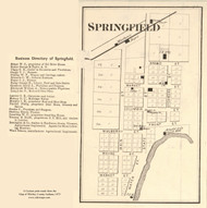 Springfield Village, Cleveland, Indiana 1873 Old Town Map Custom Print - Whitley Co.