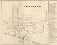 Columbia City, Columbia, Indiana 1873 Old Town Map Custom Print - Whitley Co.