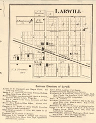 Larwill Village, Richland, Indiana 1873 Old Town Map Custom Print - Whitley Co.