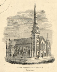 First Presbyterian Church -- 1852, Syracuse, New York 1852 Old Town Map Custom Print - Onondaga Co.