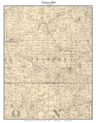 Clinton, Indiana 1865 Old Town Map Custom Print - Boone Co.