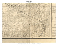Eagle, Indiana 1865 Old Town Map Custom Print - Boone Co.