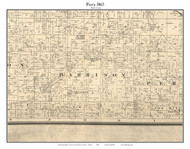 Perry, Indiana 1865 Old Town Map Custom Print - Boone Co.