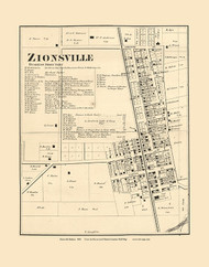 Zionsville, Eagle, Indiana 1865 Old Town Map Custom Print - Boone Co.