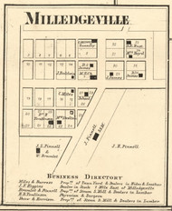 Milledgeville Village, Harrison, Indiana 1865 Old Town Map Custom Print - Boone Co.
