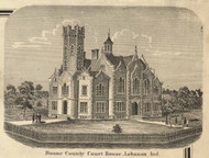 Boone County Courthouse, Lebanon, Centre, Indiana 1865 Old Town Map Custom Print -