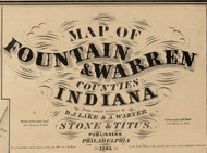 Map Cartouche, Warren Co. Indiana 1865 Old Town Map Custom Print - Warren Co.