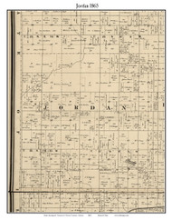 Jordan, Indiana 1865 Old Town Map Custom Print - Warren Co.