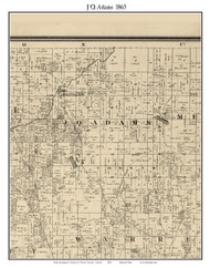J.Q. Adams, Indiana 1865 Old Town Map Custom Print - Warren Co.
