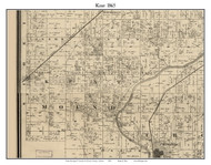 Kent, Indiana 1865 Old Town Map Custom Print - Warren Co.