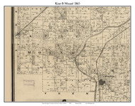 Kent and Mound, Indiana 1865 Old Town Map Custom Print - Warren Co.