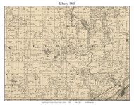 Liberty, Indiana 1865 Old Town Map Custom Print - Warren Co.