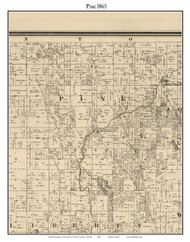 Pine, Indiana 1865 Old Town Map Custom Print - Warren Co.