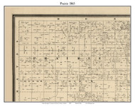Prairie, Indiana 1865 Old Town Map Custom Print - Warren Co.