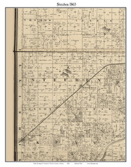 Steuben, Indiana 1865 Old Town Map Custom Print - Warren Co.