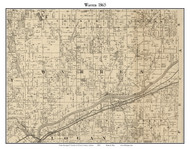 Warren, Indiana 1865 Old Town Map Custom Print - Warren Co.