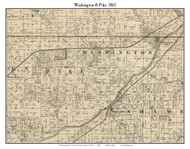 Washington and Pike, Indiana 1865 Old Town Map Custom Print - Warren Co.