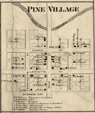 Pine Village, J.Q. Adams, Indiana 1865 Old Town Map Custom Print - Warren Co.
