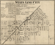 State Line City, Kent, Indiana 1865 Old Town Map Custom Print - Warren Co.
