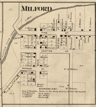 Milford Village, Medina, Indiana 1865 Old Town Map Custom Print - Warren Co.