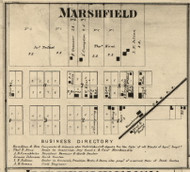 Marshfield Village, Steuben, Indiana 1865 Old Town Map Custom Print - Warren Co.