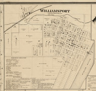 Williamsport Village, Washington, Indiana 1865 Old Town Map Custom Print - Warren Co.