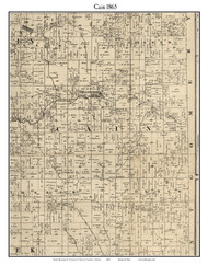 Cain, Indiana 1865 Old Town Map Custom Print - Fountain Co.