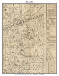 Davis, Indiana 1865 Old Town Map Custom Print - Fountain Co.