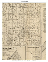 Jackson, Indiana 1865 Old Town Map Custom Print - Fountain Co.