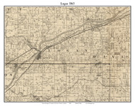 Logan, Indiana 1865 Old Town Map Custom Print - Fountain Co.