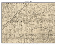 Shawnee, Indiana 1865 Old Town Map Custom Print - Fountain Co.
